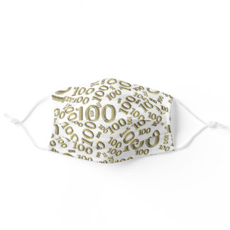 100 Gold & White Random Number Pattern 100th Bday Adult Cloth Face Mask