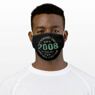 13 Year Old Bday 2008 Legend Since 13th Birthday Adult Cloth Face Mask