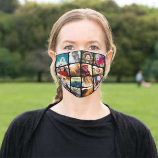 16 Photo Template Grid Protective Black Adult Cloth Face Mask