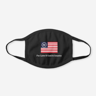 1776 Flag Love Of God And Country Monogram Black Cotton Face Mask