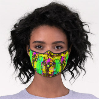 1990s style neon green yellow pink pattern unisex premium face mask