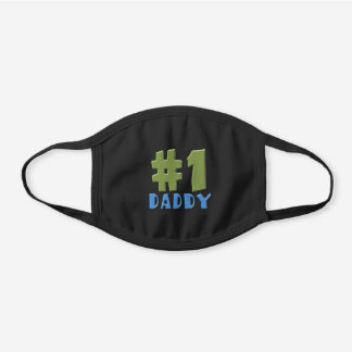 #1 Daddy Fathers Day Black Cotton Face Mask