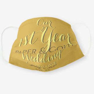 1st Wedding Anniversary Paper and Gold Cloth Face Mask