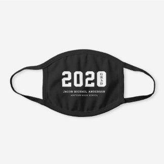 2020 Grad with Name and School Black Cotton Face Mask