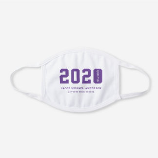 2020 Grad with Name and School in Purple White Cotton Face Mask