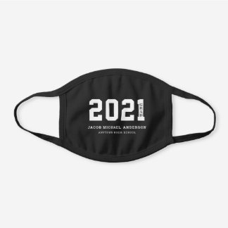2021 Grad with Name and School Black Cotton Face Mask