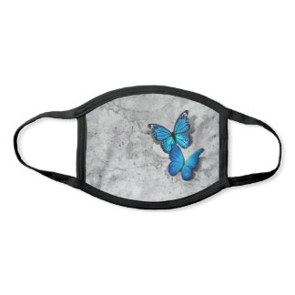 3D Blue Monarch Butterflies Gray Stone Watercolor Face Mask