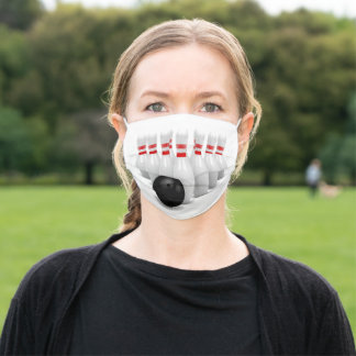 3D Bowling ball and pins Adult Cloth Face Mask