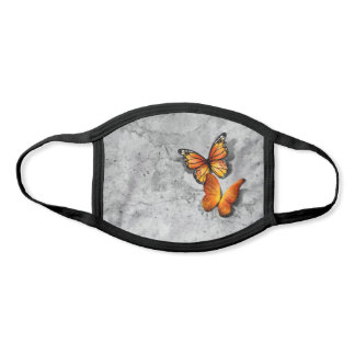 3D Monarch Butterflies Gold Orange Gray Watercolor Face Mask