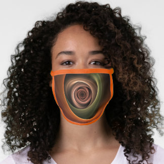 3D Spiral Abstract Warm Colors Modern Fractal Art Face Mask