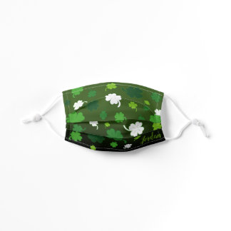 4 Leaf Clover Pattern with YOUR NAME on DARK GREEN Kids' Cloth Face Mask