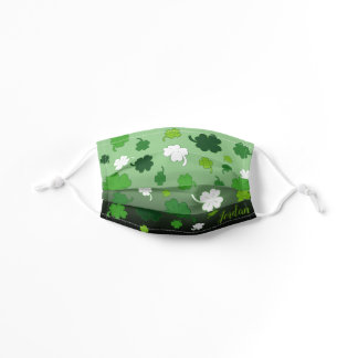 4 Leaf Clover Pattern with YOUR NAME on GREEN Kids' Cloth Face Mask