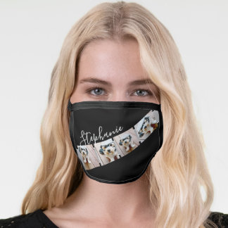 4 Photo Collage Film Strip Name - can edit black Face Mask