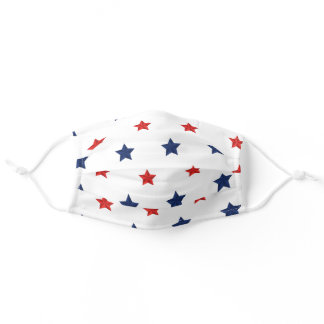 4th July star blue red pattern cloth face mask