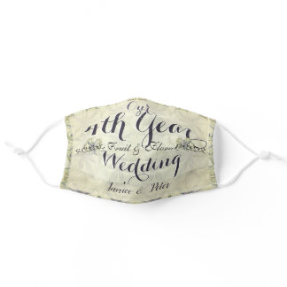 4th Wedding Anniversary Fruit and Floral Adult Cloth Face Mask
