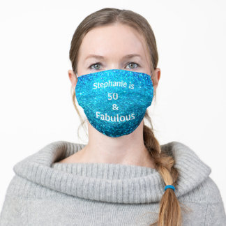 50 And Fabulous Birthday Deep Blue Glitter Girly Adult Cloth Face Mask