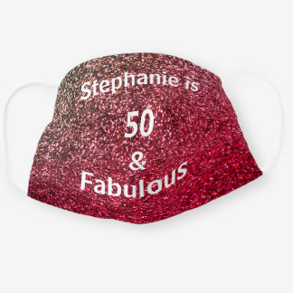 50 And Fabulous Birthday Pink Gold Golden Glitter Cloth Face Mask