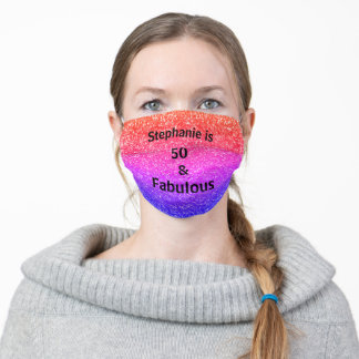 50 And Fabulous Birthday Pink Purple Glitter Ombre Adult Cloth Face Mask