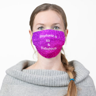 50 And Fabulous Birthday Purple Pink Glitter Ombre Adult Cloth Face Mask