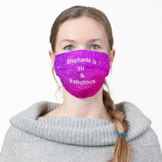 50 And Fabulous Birthday Purple Pink Glitter Ombre Cloth Face Mask