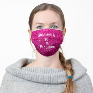 50 And Fabulous Birthday Purple White Glitter Cute Adult Cloth Face Mask