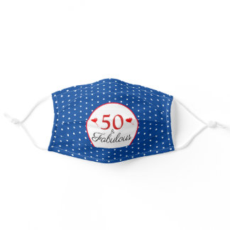 50 & Fabulous Birthday 50th Party Blue White Dots Adult Cloth Face Mask