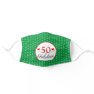 50 & Fabulous Birthday 50th Party Green White Dots Adult Cloth Face Mask