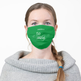50 & Fabulous White Calligraphy on Bright Green Adult Cloth Face Mask
