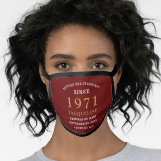 50th Birthday 1971 Red Gold For Her Personalized Face Mask