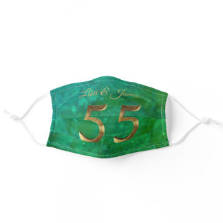 55th Anniversary Floral Gold Number Emerald Green Adult Cloth Face Mask