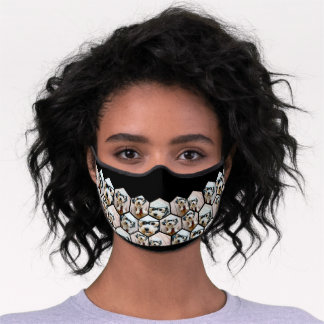 7 Photo Collage - funky hexagon pattern black Premium Face Mask