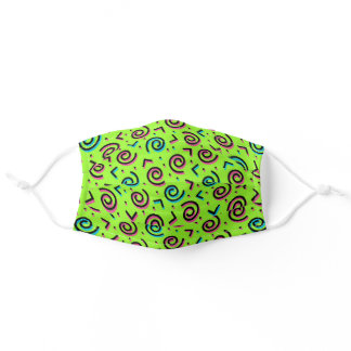 80's/90's Pattern Fun Colorful Neon Green Retro Adult Cloth Face Mask