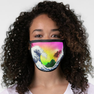 80s style The great wave and palm trees Face Mask