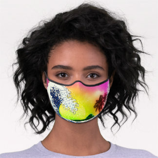 80s style The great wave and palm trees Premium Face Mask