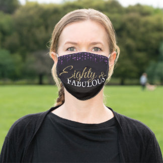 80th Birthday Eighty and Fabulous Purple and Gold Adult Cloth Face Mask
