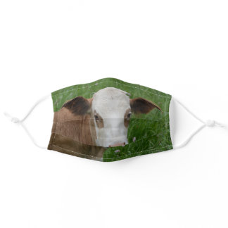 A cow in the pasture adult cloth face mask