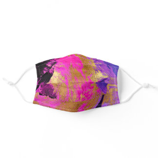 Abstract art gold brushed pink fuchsia pattern adult cloth face mask