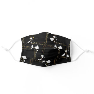 Abstract Black Gold White Geometric Floral Sketch Adult Cloth Face Mask