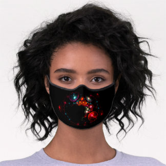 Abstract Colorful Fantasy Galaxy - Planets Premium Face Mask