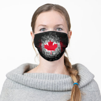 Abstract Dot Pattern Canadian Flag on Black Adult Cloth Face Mask