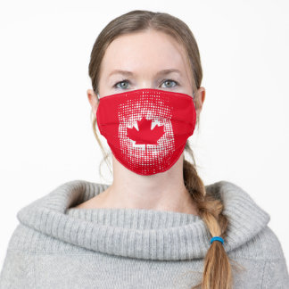 Abstract Dot Pattern Canadian Flag on Red Adult Cloth Face Mask