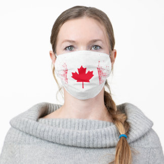 Abstract Dot Pattern Canadian Flag on White Adult Cloth Face Mask
