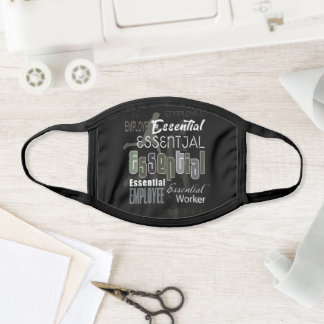"Abstract ""Essential"" Employee Lettering Modern Face Mask"