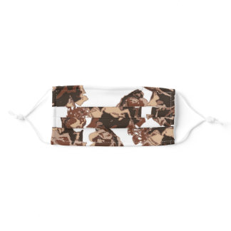 abstract floral in brown tones adult cloth face mask