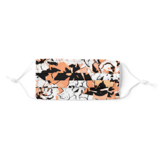 Abstract floral in peach adult cloth face mask