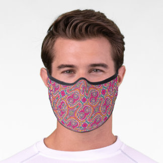 Abstract floral pink vintage victorian pattern  premium face mask