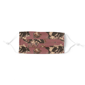 abstract floral rose rust burgandy adult cloth face mask