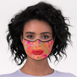 Abstract Gold Red Lips Floral Custom Premium Face Mask