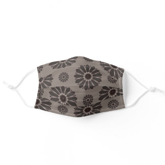 Abstract Grey and Taupe Flowers Pattern Adult Cloth Face Mask