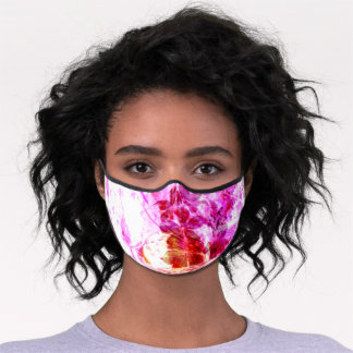 Abstract Hot Pink Floral Premium Face Mask